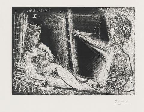 Pablo Picasso - Peintre en demi-figure et modèle allongé