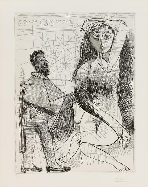 Pablo Picasso - Peintre en costume Espagnol peignant sur son modèle