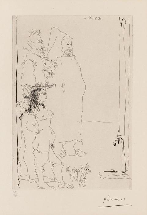 Pablo Picasso - Trois Personnages, dont une caricature d' après el greco et une d' après tintin, et un petit chien