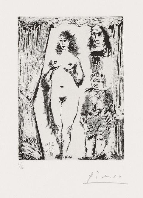 Pablo Picasso - Couple et petit valet encadrés par une portière