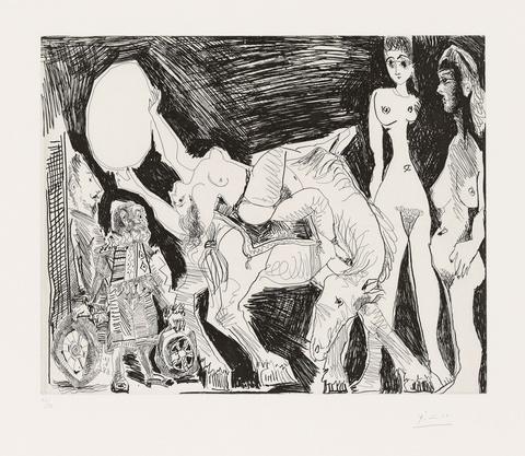 Pablo Picasso - Cirque: Écuyère, Femmes et Spectateurs, dont un Garagiste déguisé