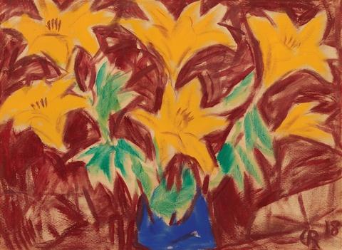 Christian Rohlfs - Gelbe Lilien auf rotem Grund