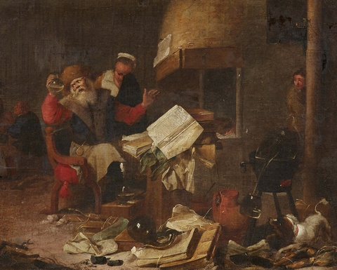 Thomas Wijck, follower of - Interior with Doctor and Patient