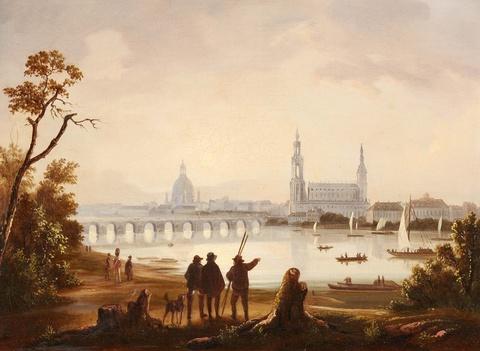 Deutscher Künstler des 19. Jahrhunderts - Ansicht von Dresden mit Hofkirche und Frauenkirche