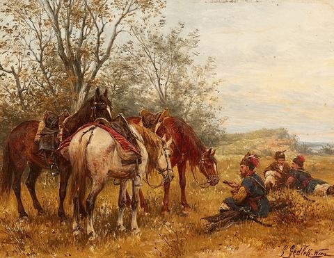 Ludwig Gedlek - Hussars at Rest