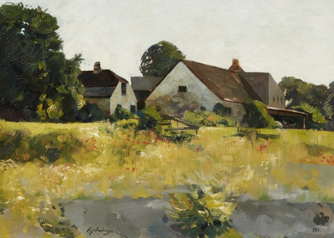 Constantin Gerhardinger - A Farmstead in Kallmünz Verso: Leaves and Flowers