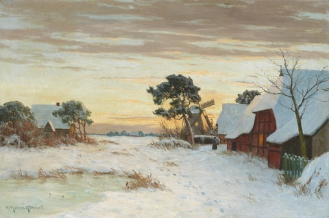 Paul Müller-Kaempff - Winter Landscape in Ahrenshoop with Cottages and a Windmill