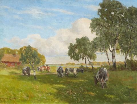 Paul Müller-Kaempff - Summer Meadows in a Fishing Village