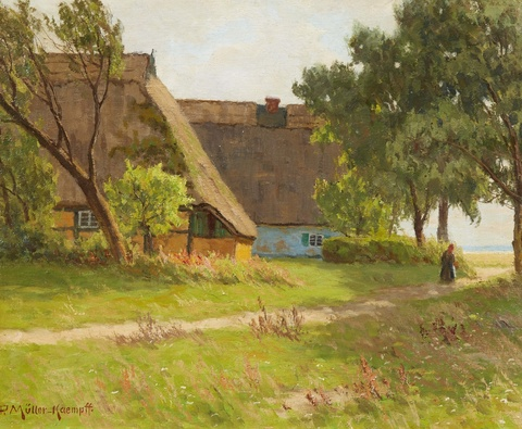 Paul Müller-Kaempff - Two Cottages on the Path to the Bodden