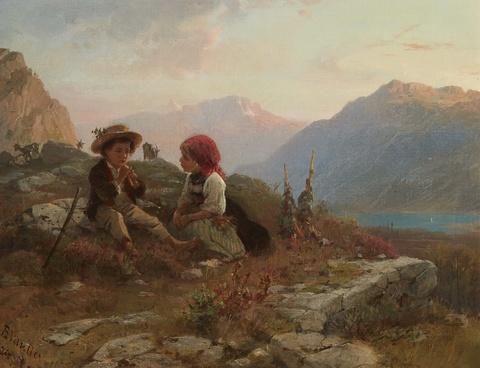 Benjamin Vautier - Shepherd Boy and a Peasant Girl