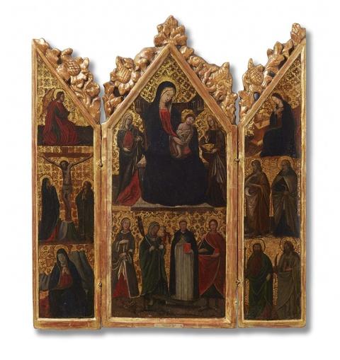 Italienischer Meister des frühen 15. Jahrhunderts - Flügelaltar mit thronender Muttergottes