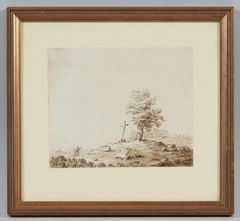 Deutscher Künstler des frühen 19. Jahrhunderts - Landschaft mit Holzkreuz unter einem alten Baum