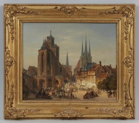 Deutscher Künstler des 19. Jahrhunderts - Prozession vor dem Erfurter Dom mit Blick auf St. Severin