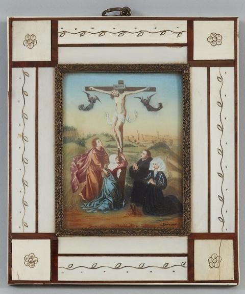 Deutscher Künstler des. 20 Jahrhunderts - Miniatur nach Rogier van der Weydens Mitteltafel des Kreuzigungstriptychons (übermalte Reproduktion)