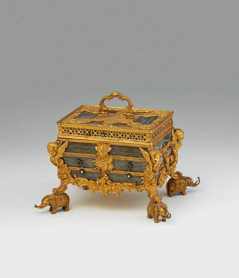 A sumptuous English agate coffer -