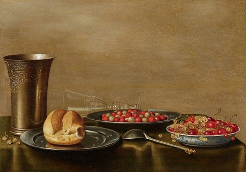Floris van Schooten - Still Life upon a Dark Green Cloth with a Silver Cup, two Pewter Plates with Bread and Strawberries, a Wanli Porcelain Dish of Cherries and a Delicate Wine Glass à la façon de Venise