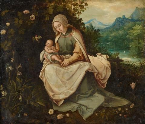 Unbekannter Künstler des 17. Jahrhunderts Jan Brueghel d. J. - Madonna mit Kind in einer Landschaft