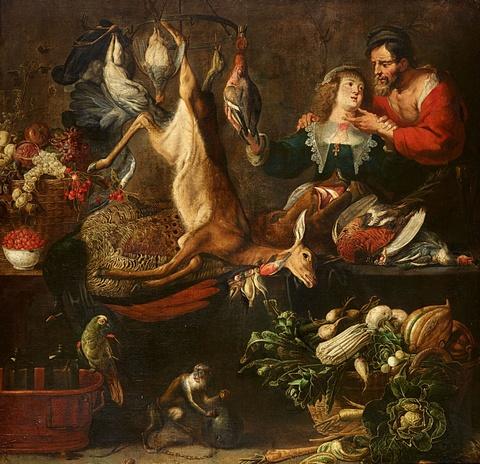 Frans Snyders, Werkstatt - Großes Stillleben mit einem Paar, Jagdbeute, Gemüse, Früchten, einem Affen und Papagei