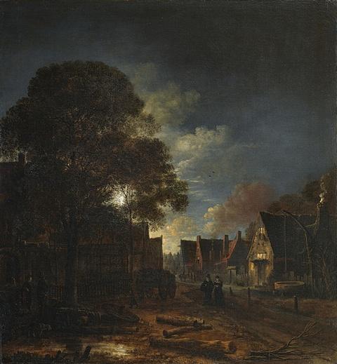 Aert van der Neer - Dorfstrasse bei Mondschein