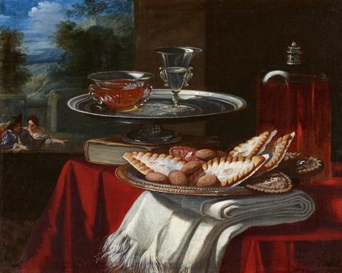 Pietro Francesco Cittadini - Stillleben mit angerichteten Süßigkeiten sowie gefüllten Gläsern vor einer Landschaft