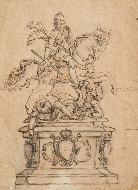 Cornelis II Bloemaert, attributed to - Equestrian Monument for a Goldsmith