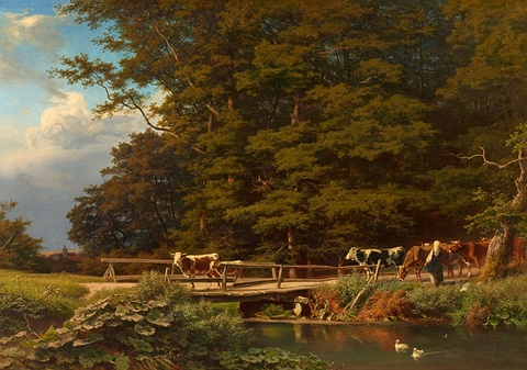 August Bromeis - Wooded Landscape with Cattle by a Bridge
