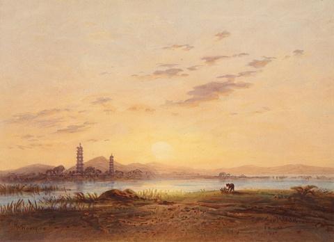 Eduard Hildebrandt - Chinesiche Seelandschaft am Abend