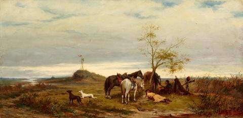 Ludwig Gedlek - Landscape with Hussars at Rest