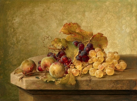 Johann Wilhelm Preyer - Still Life with Grapes and Greengages