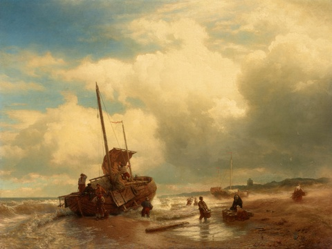 Andreas Achenbach - Fishermen on the Beach
