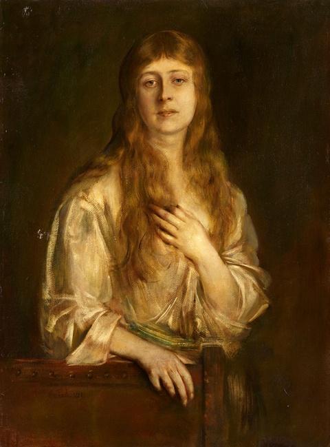 Franz Seraph von Lenbach - Portrait der Lady Maria Anna Acton (?)