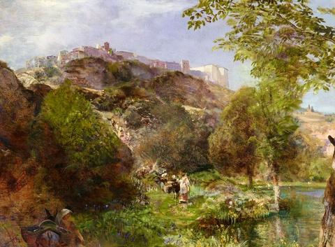 Oswald Achenbach - View of Genzano di Roma on the Lago di Nemi