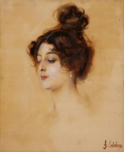 Franz Seraph von Lenbach - Bildnis einer jungen Frau mit hochgestecktem Haar