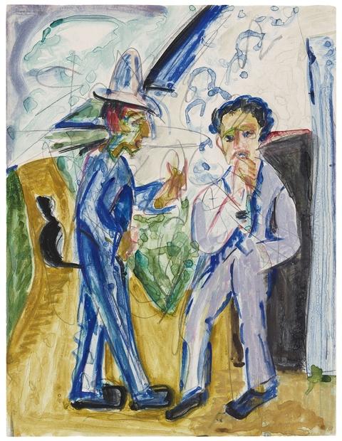 Ernst Ludwig Kirchner - Zwei Bauern im Gespräch