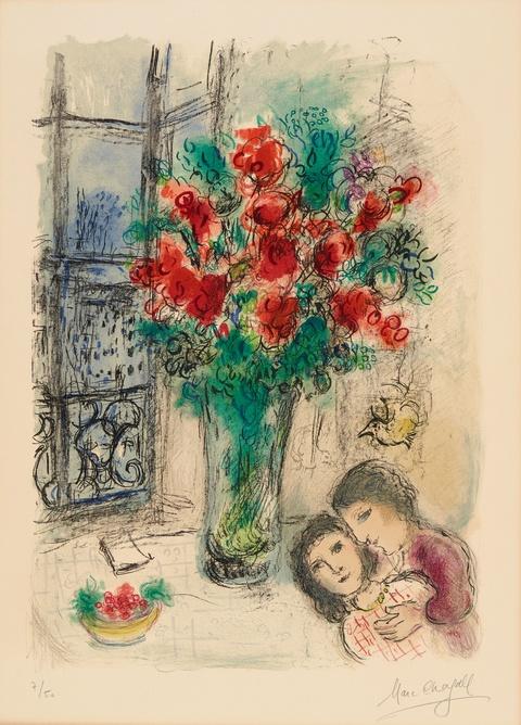 Marc Chagall - Les Fleurs rouges