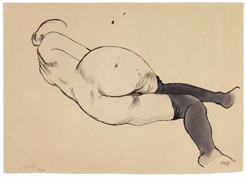 George Grosz - Liegender weiblicher Akt. Verso: Mutter und Sohn