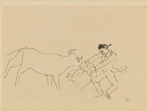 George Grosz - Stierkampf, Cassis. Verso: Stierkampfszene, Cassis