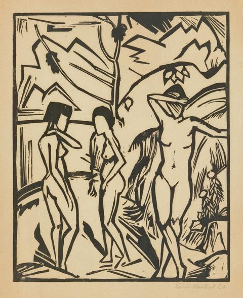 Erich Heckel - Drei Frauen am Wasser
