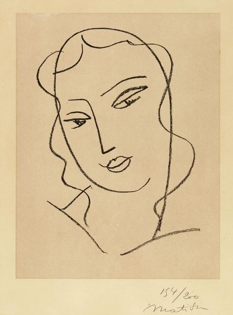 """Henri Matisse - Etude pour la Vierge """"Tête voilée"""""""