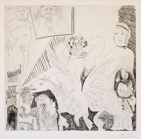 Pablo Picasso - Scène de cirque, avec cheval ailé, vue par un machiniste