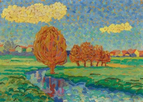 Eberhard Viegener - Weiden am Bach (Rote Bäume)