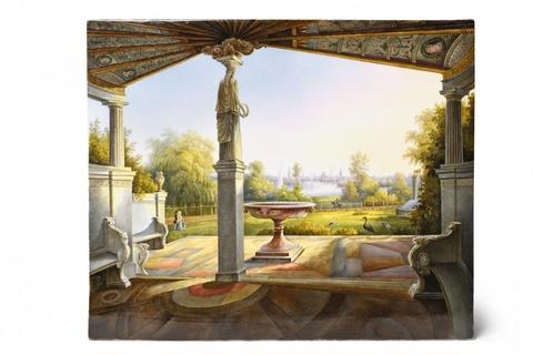 Porzellanbild mit dem Blick aus Prinz Carls Terrasse in Klein Glienicke -