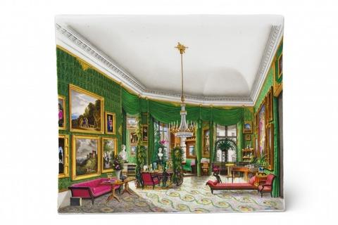 Porzellanbild mit Ansicht des grünen Wohnzimmers von Königin Elisabeth -