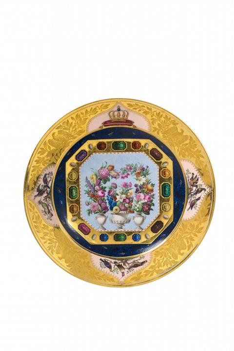 Königlicher Mikromosaikteller mit Blumenallegorie -