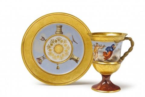 Tasse en vase mit Allegorien der vier Jahreszeiten -