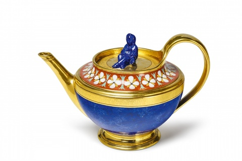 Teekanne mit Lapislazuli-Imitation -