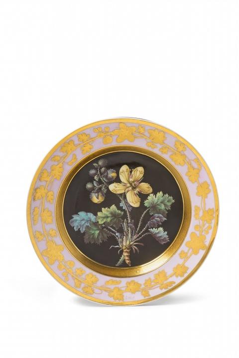 A Berlin KPM plate with botanical decor -