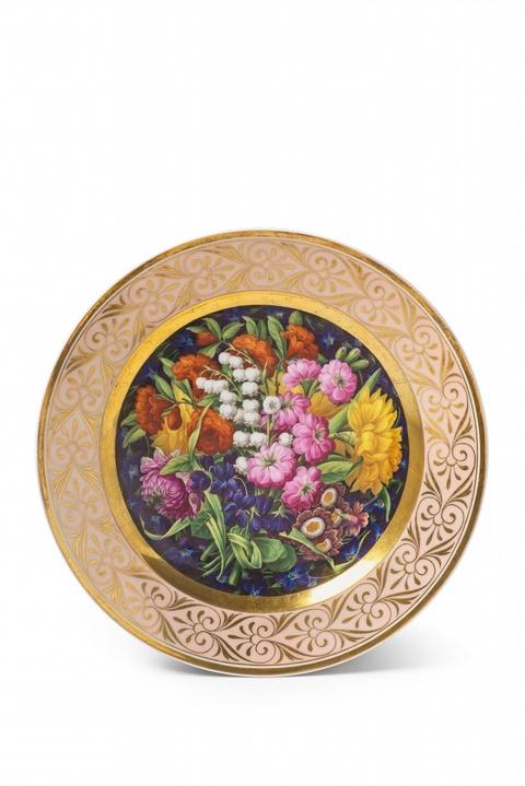 Teller mit großem Blumenbouquet -