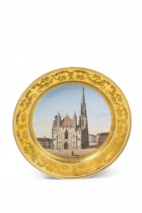 """Teller mit Ansicht """"Die St. Stephans Kirche zu Wien."""" -"""