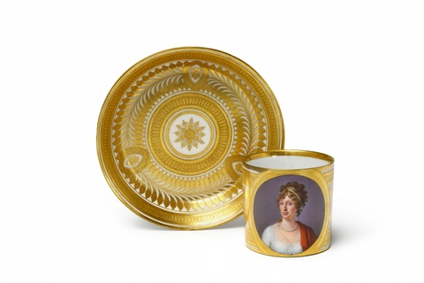 A Sorgenthal porcelain cup with a portrait of Empress Maria Ludovika -
